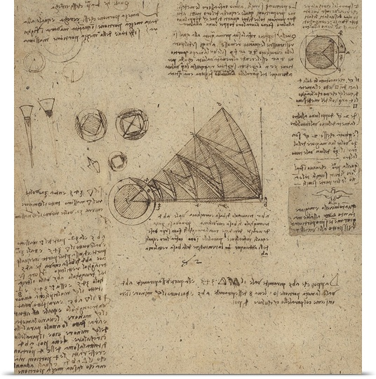 Great BIG Canvas | Rolled Leonardo da Vinci Poster Print entitled Alteration of annulus without changing its quantity, from Atlantic Codex