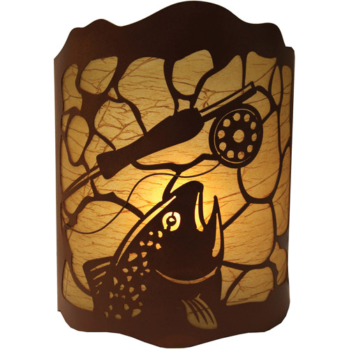 "Rivers Edge Products 10"" x 13"" Fishing Trout Tin Wall Light"