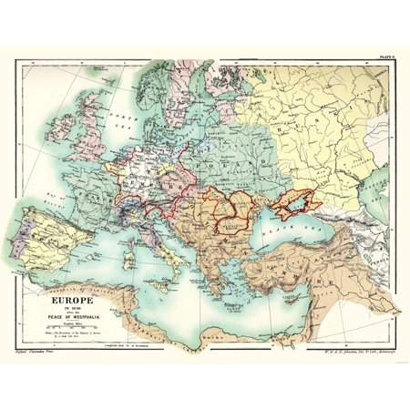 International Map - Europe 1648 - Peace of Westphalia - Poole 1902 ...