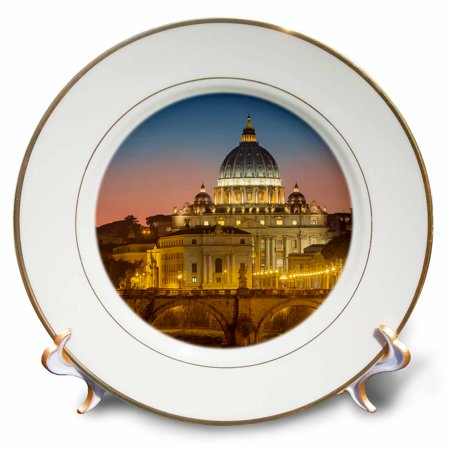 3dRose Twilight over River Tibor and the dome of San Pietro, Vatican, Rome, Lazio, Italy - Porcelain Plate, -