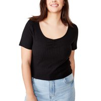 COTTON ON Curve Bethany Textured Scoopneck T-Shirt