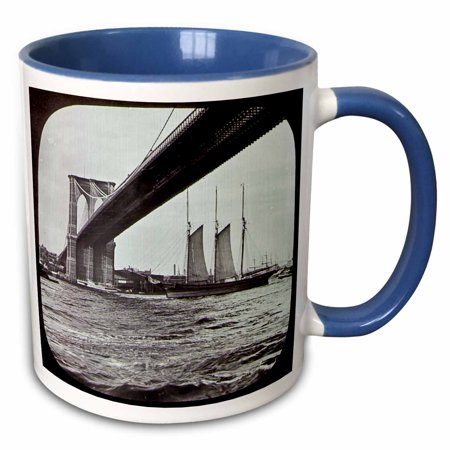 3dRose Brooklyn Bridge with Sailboat East River New York City Glass Slide - Two Tone Blue Mug, 11-ounce ()