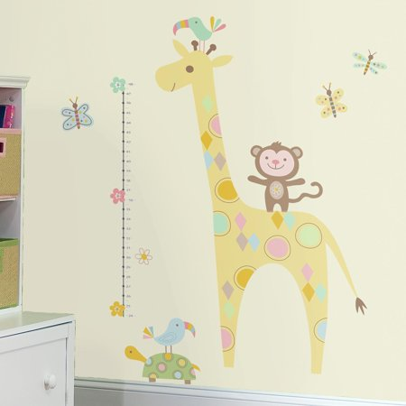 TRIBAL BABY ANIMAL GROWTH CHART Wall Decals Giraffe Monkey Room ...