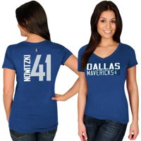 Dirk Nowitzki Dallas Mavericks Majestic Women's Name & Number V-Neck T-Shirt - Blue