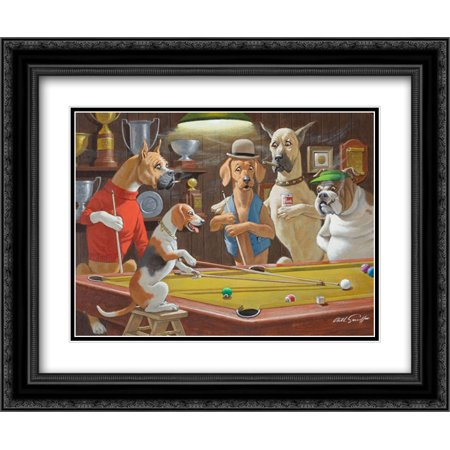 Hey! One Leg on the Floor / Dogs Playing Pool 2x Matted 24x20 Black Ornate Framed Art Print by Arthur Sarnoff
