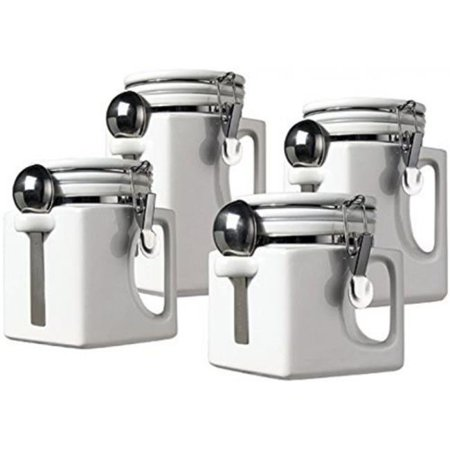 Ceramic EZ Grip Handle Canister Set, White
