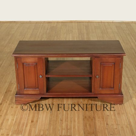Solid Mahogany Distressed Low TV Entertainment Media Storage Cabinet