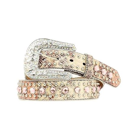 1.5 in. Womens Snake Print Bling Belt, Pink - Extra Large