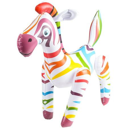 African Safari Rainbow Stripe Zebra Zoo Animal Inflatable 24