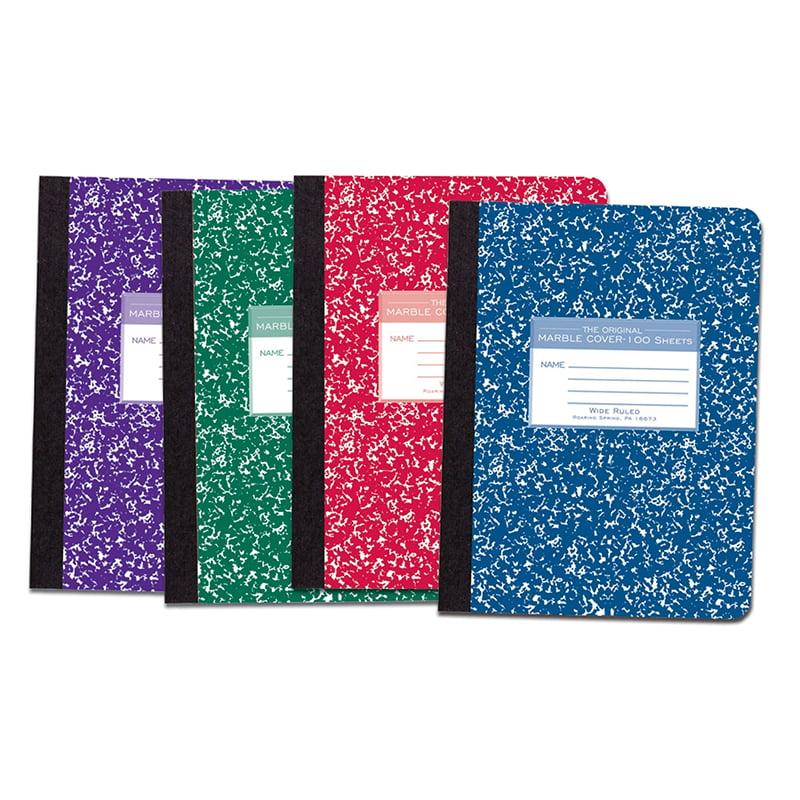 (6 EA) MARBLE COMPOSITION BOOK ASST COLORS