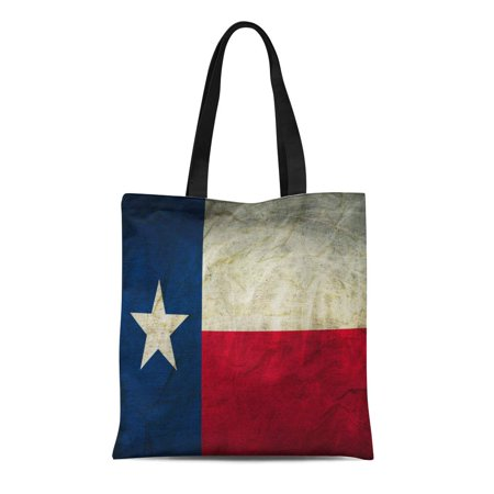 ASHLEIGH Canvas Tote Bag Houston Texas Flag on Abstract Aged Ancient Antique Austin Durable Reusable Shopping Shoulder Grocery