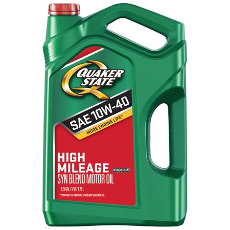 (6 Pack) Quaker State High-Mileage 10W-40 Synthetic Blend Motor Oil, 5 qt