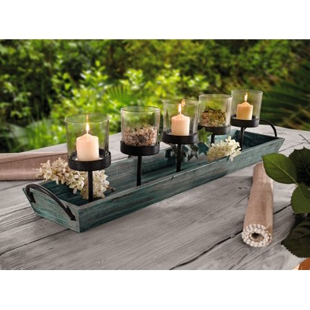 Rustic Wood Candle Centerpiece Tray W Five Metal Holders