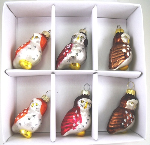 Nature Woodland Owl Christmas Holiday Glass Ornaments Set of 6