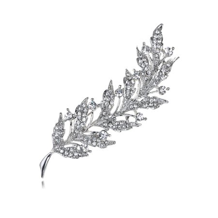 - Feather Leaf Clear Crystal Rhinestone Sliver Tone Holiday Pin Brooch