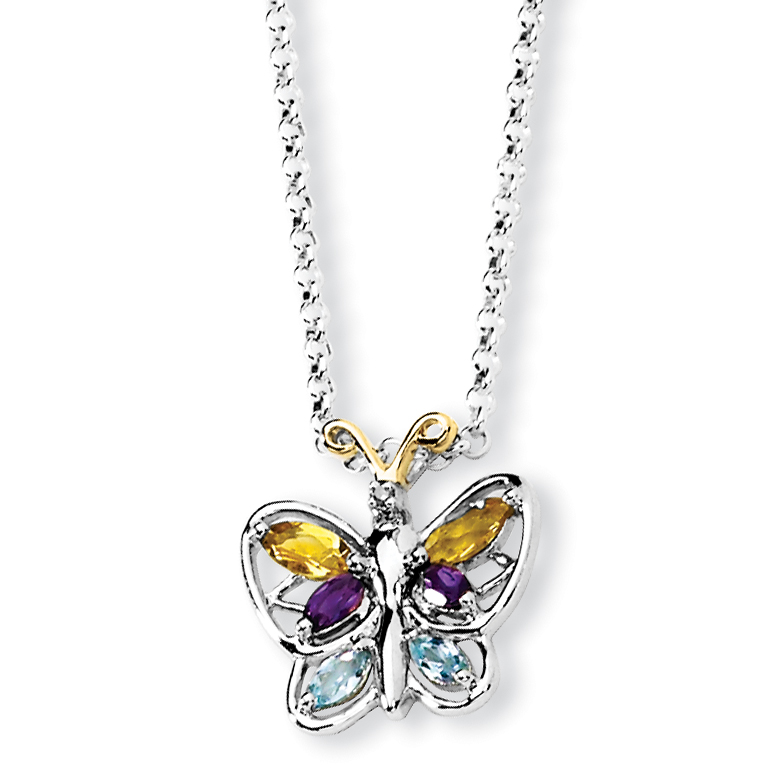 925 Sterling Silver & Citrine Amethyst Blue Topaz Butterfly Necklace by