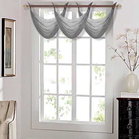 K36 CHARCOAL 1-PC Solid Voile Sheer WATERFALL Valance Window Treatment With 2 Grommets On Top 55