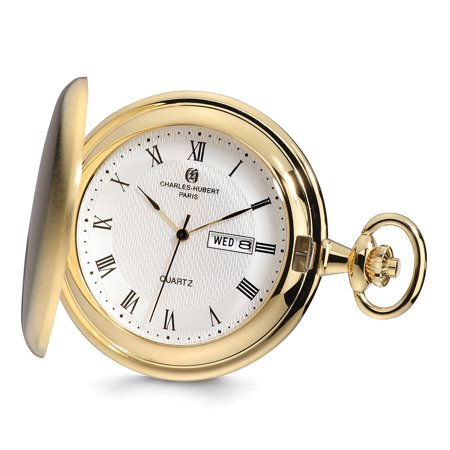 Lex & Lu Charles Hubert Gold Finish Satin White Dial Day/Date Pocket Watch XWA4913 (Pocket Watch With Date And Day)