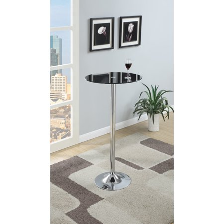 Metal Base Bar Table With Round Glass Top, Black & Silver ()