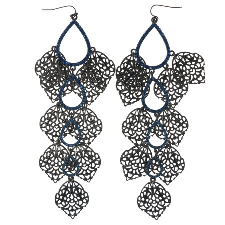 - Gunmetal Finish French Hook Dangle Earrings Bright Blue Crystal Accents