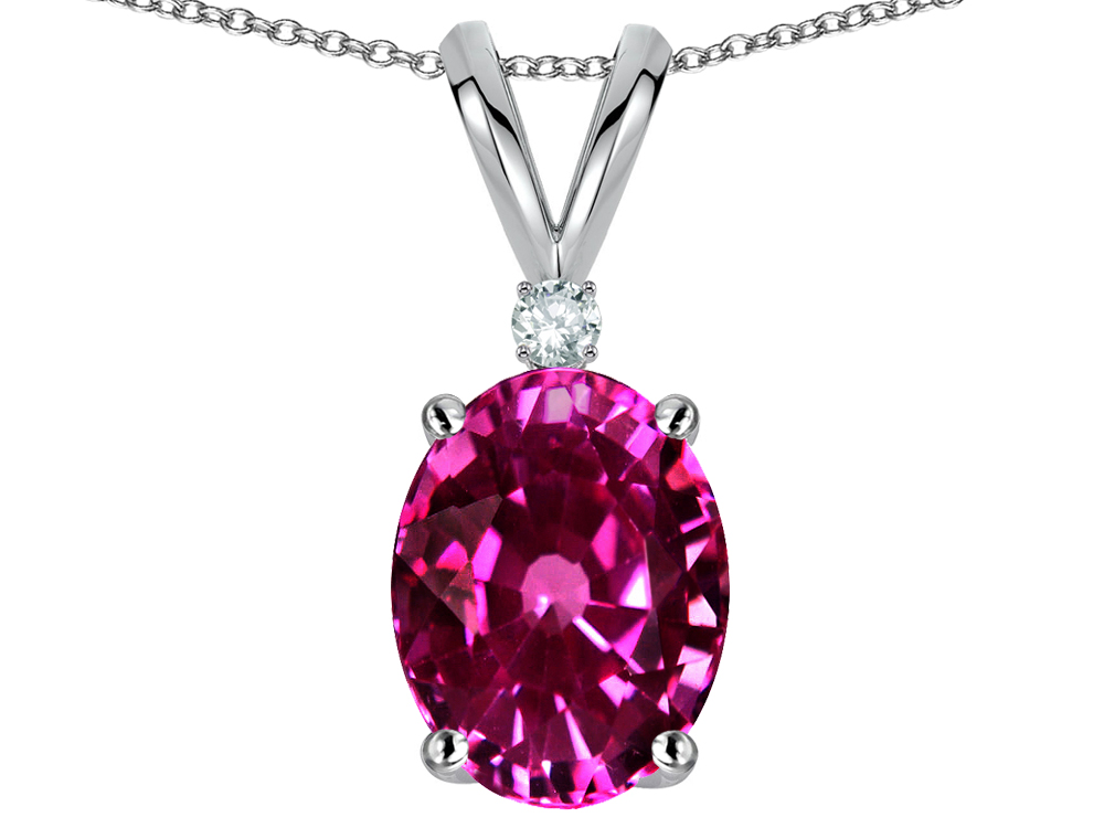 Star K Oval 8x6mm Simulated Pink Tourmaline Pendant Necklace in 14 kt White Gold by