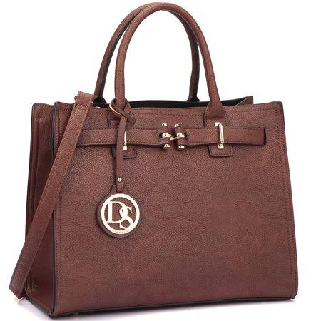 - Dasein  Decorative Front Belted Gold Plated Hinge Satchel Handbag