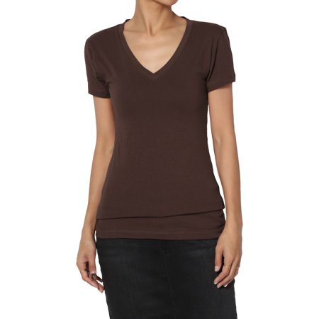 TheMogan Women's Plain Basic V-Neck Slim Fitted Short Sleeve T-Shirts Stretch Tee Dad Womens Fitted T-shirt