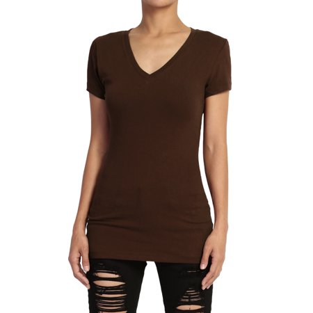 TheMogan Women's Baisc V-Neck Short Sleeve T-Shirts Stretch Cotton Fitted -