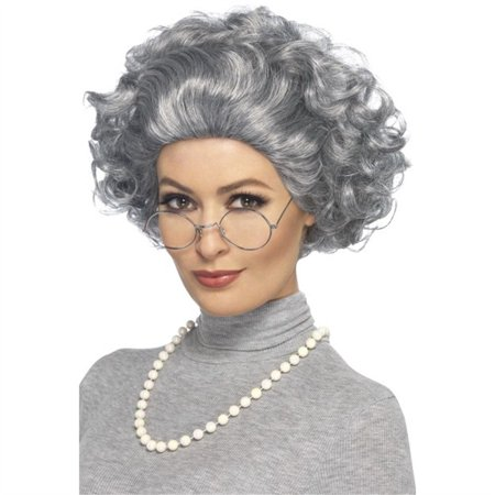 Smiffy's Granny Grey Wig Kit Glasses & Pearl Necklace Mrs. Claus Accessory Set - image 1 of 1