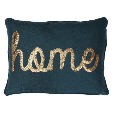 Thro by Marlo Lorenz Home Sequin Script Faux Linen Pillow ()