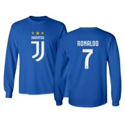 Soccer Shirt #7 Ronaldo CR7 Cristiano Juve Boys Girls Youth Long Sleeve T-Shirt (Royal, Youth Small)
