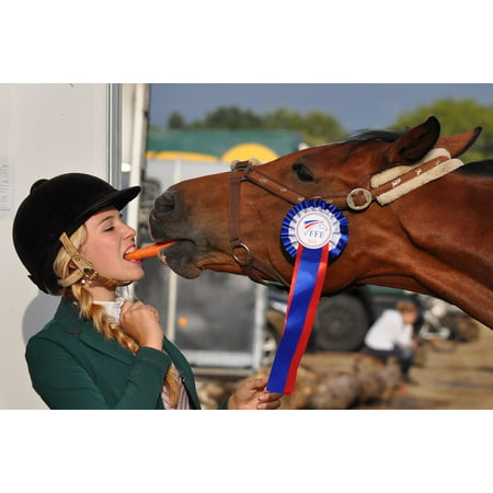 LAMINATED POSTER Horse Carrot Girl Complicity Winner Equestrian Poster Print 24 x 36
