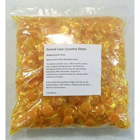 Butterscotch Discs 5 Lbs Bulk Hard Candy Approx. 425 Pieces