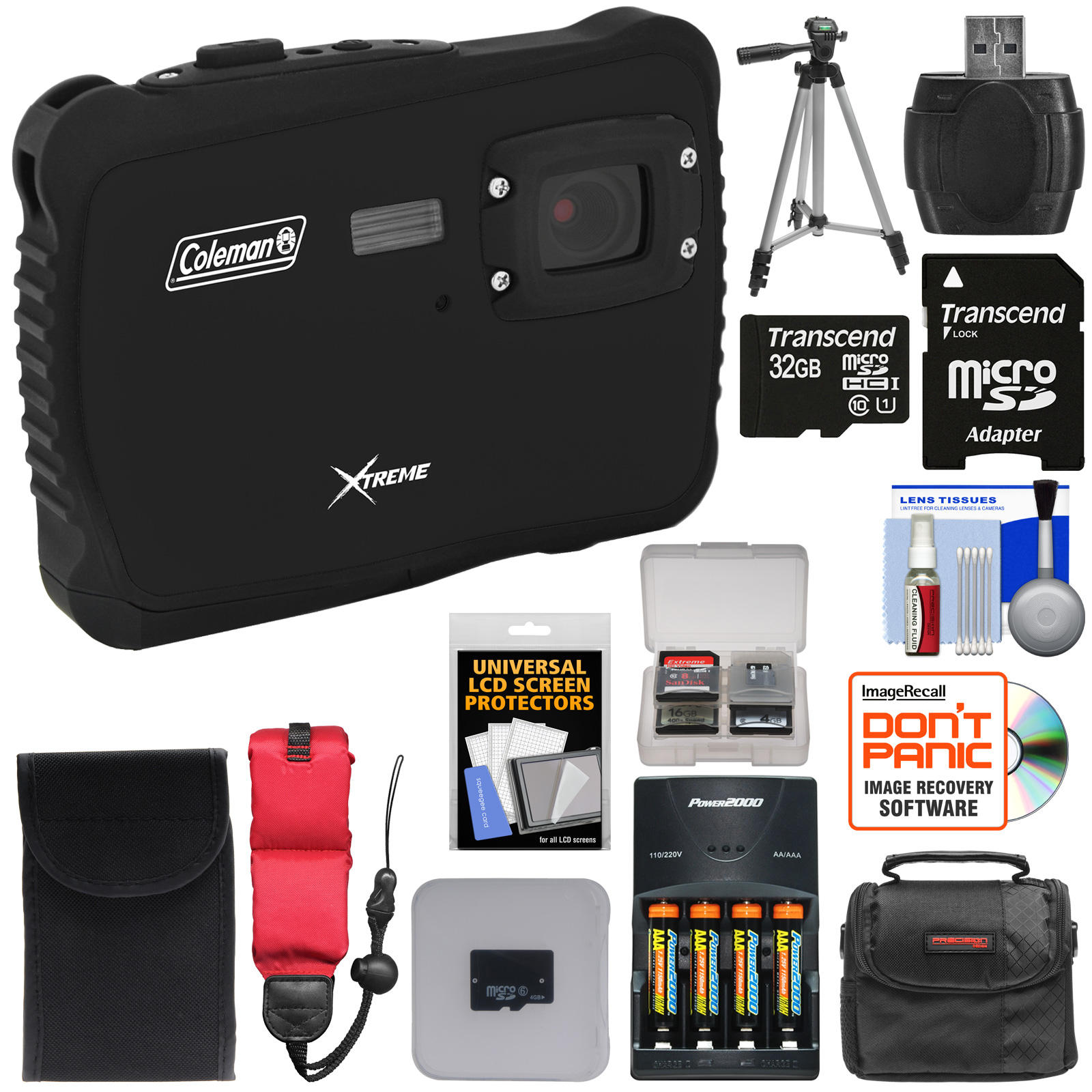 Coleman Xtreme C6WP HD Shock & Waterproof Digital Camera (Black) with 32GB Card   Batteries & Charger   Case   Tripod   Kit