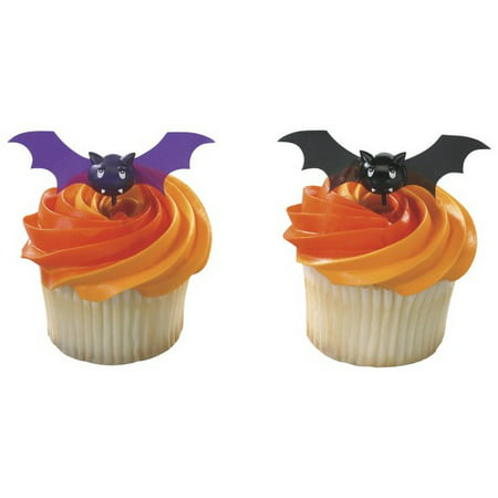 Bats Halloween Spooky Pics -24pk Cupcake / Desert / Food Decoration Topper Picks with Favor Stickers & Sparkle Flakes - Halloween Bday Pics