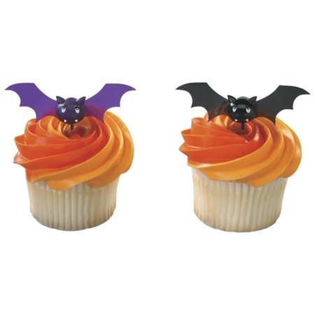 Bats Halloween Spooky Pics -24pk Cupcake / Desert / Food Decoration Topper Picks with Favor Stickers & Sparkle Flakes (Halloween Type Food)