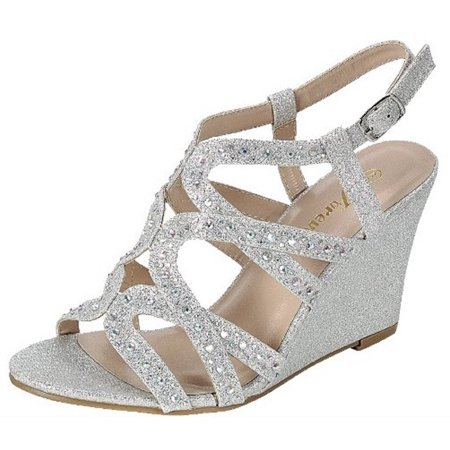 - Fairway-35 Women Party Evening Dress Bridal Wedding Rhinestone Wedge Sandal Shoes Silver