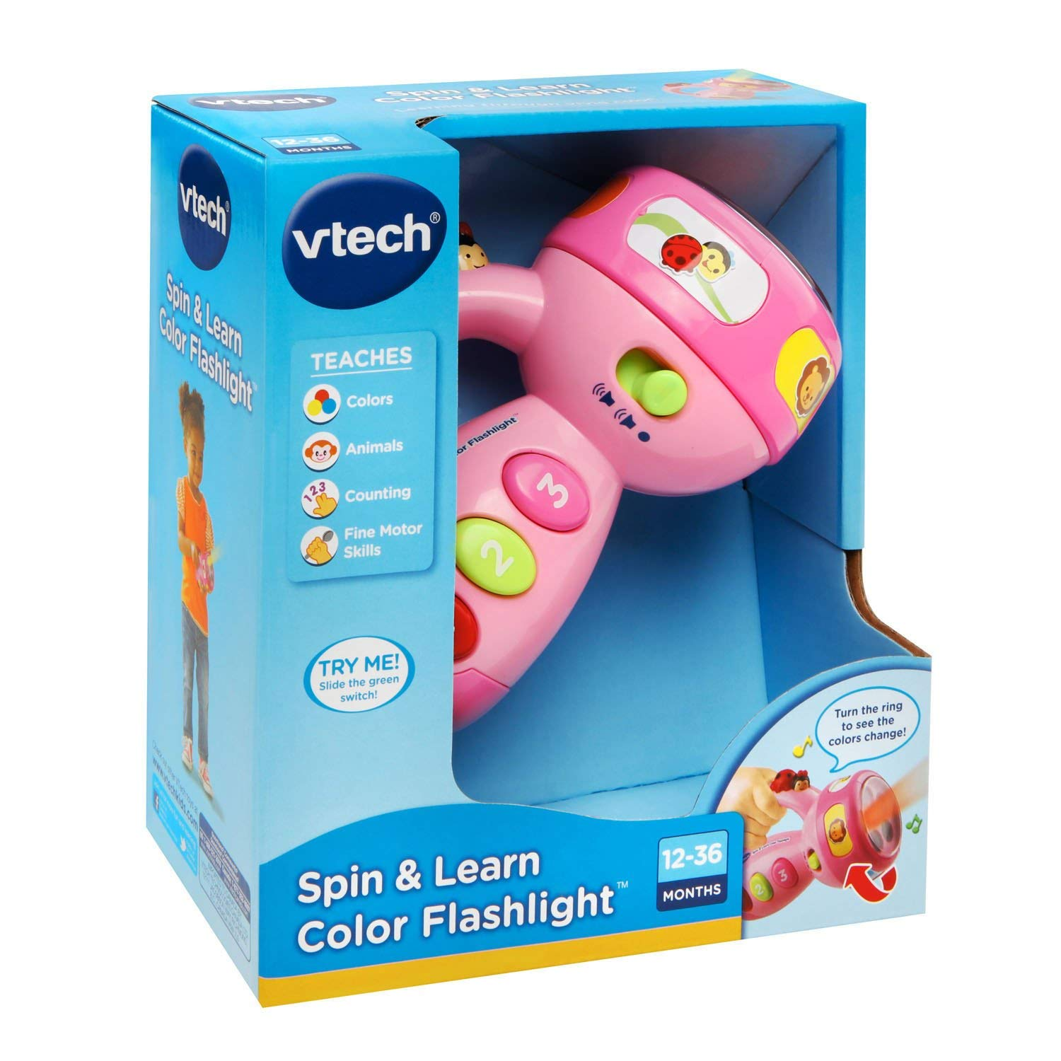 VTech Spin and Learn Color Flashlight, exciting songs and music that teach about animals, colors and numbers, Pink New!