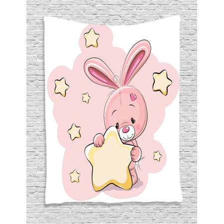 Baby Sports Wall Hanging - Teen Girls Decor Wall Hanging Tapestry, Rabbit Bunny With A Star Loving Art For Birthday Celebrations Baby Shower Theme, Bedroom Living Room Dorm Accessories, By Ambesonne