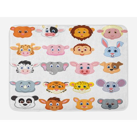 Cartoon Bath Mat, Kids Themed Baby Cute Animals Lions Pigs Cows Farm Safari Baby Nursery Room Image, Non-Slip Plush Mat Bathroom Kitchen Laundry Room Decor, 29.5 X 17.5 Inches, Multicolor, Ambesonne](Cute Cartoon Themes)