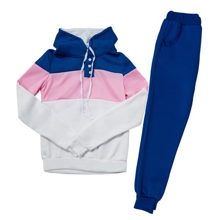 Blue SportsWear Blouses Casual Gym Suits for Women, Womens 2Pcs Tracksuit sets with Hoodies Sweatshirt & Pants for Fall / Winter, S