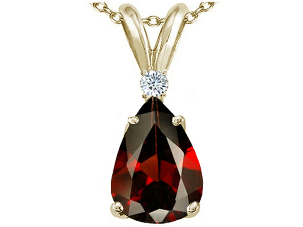 Tommaso Design Pear Shap 8x6 mm Genuine Garnet Pendant Necklace by