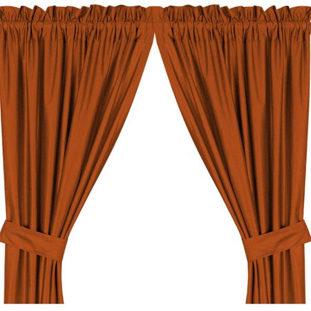 Solid Dark Orange Locker Room Drapery Panels with Tie-Backs