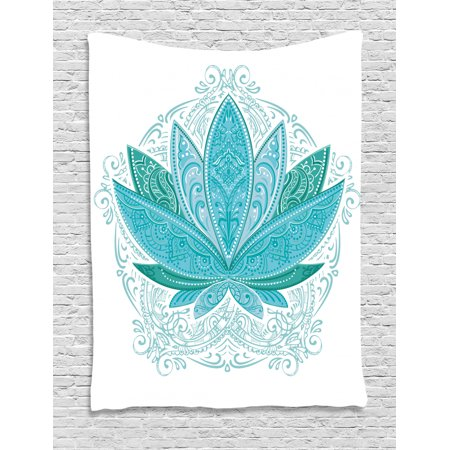 Lotus Tapestry, Lotus Flower with Ornaments Ethnic Exotic Petals Mehndi Traditional Boho Design, Wall Hanging for Bedroom Living Room Dorm Decor, Teal Sky Blue, by Ambesonne ()