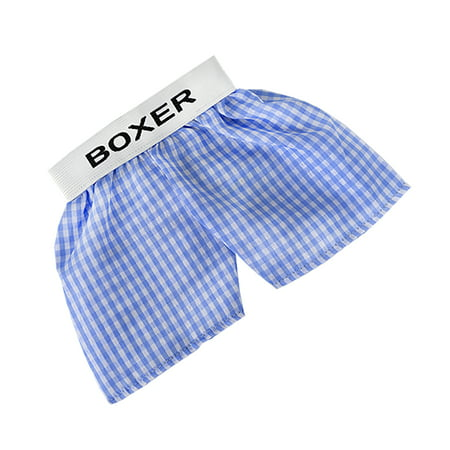 Blue Teddy Bear Rattle - Blue Plaid Boxer Teddy Bear Clothes Fits Most 14