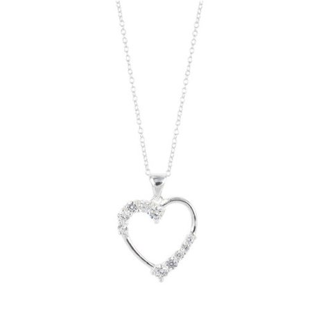 - CZ Sterling Silver Heart Pendant, 18
