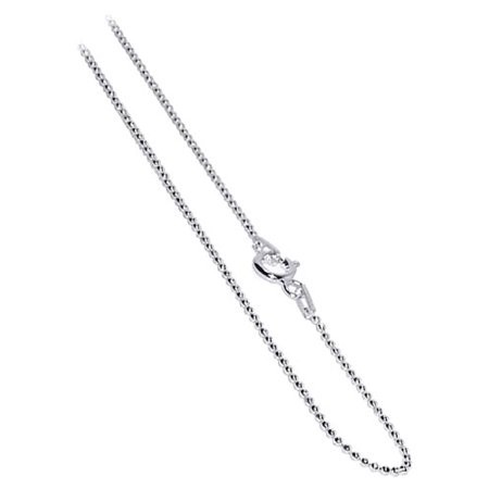 Gem Avenue Italian 925 Sterling Silver 1mm Beads Chain Necklace with Spring Ring Clasp