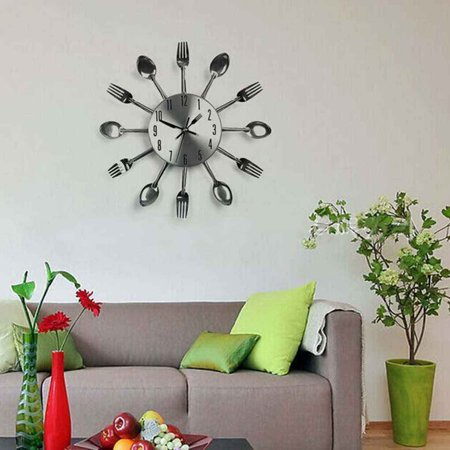3D Removable Modern Cutlery Kitchen Spoon Fork Wall Clock Mirror Wall Decal ()