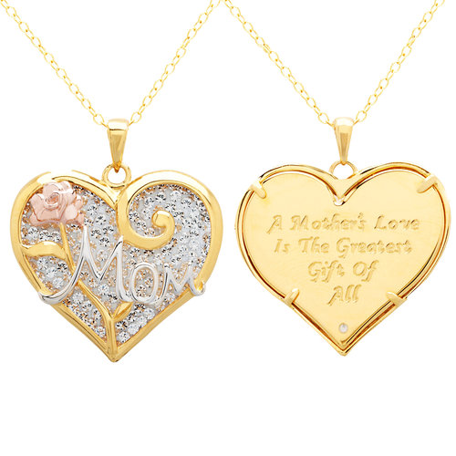 "Luminesse 18kt Gold over Sterling Silver ""Mom"" Heart Pendant made with Swarovski Elements, 18"""