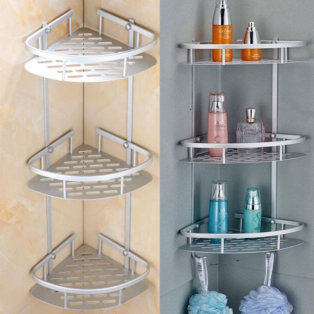 Triangular Shower Caddy Shelf Bathroom Corner Rack Storage Bath Holder Organizer